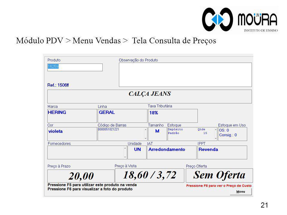 Módulo PDV > Menu Vendas > Tela Consulta de Preços
