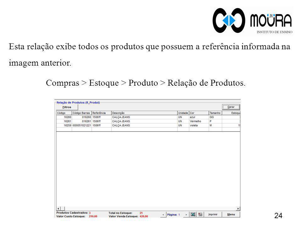 Compras > Estoque > Produto > Relação de Produtos.