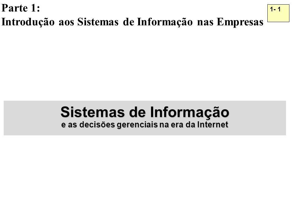 Sistemas de Informação e as decisões gerenciais na era da Internet