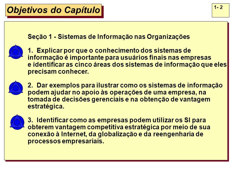 Objetivos do Capítulo Seção 1 - Sistemas de Informação nas Organizações. 1. Explicar por que o conhecimento dos sistemas de.