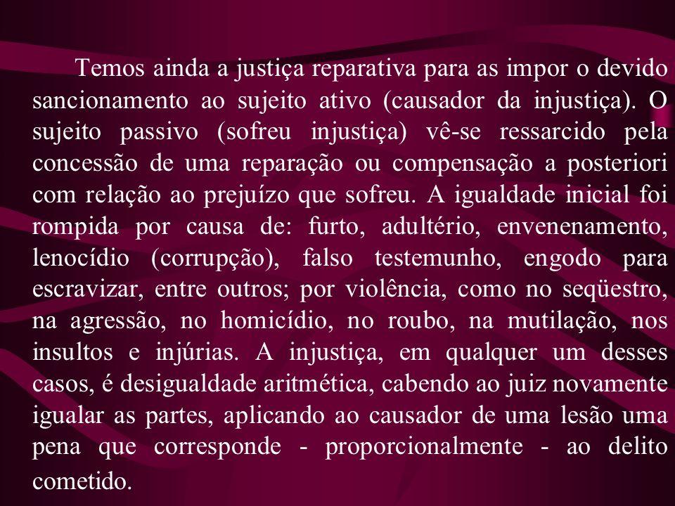 Temos ainda a justiça reparativa para as impor o devido sancionamento ao sujeito ativo (causador da injustiça).
