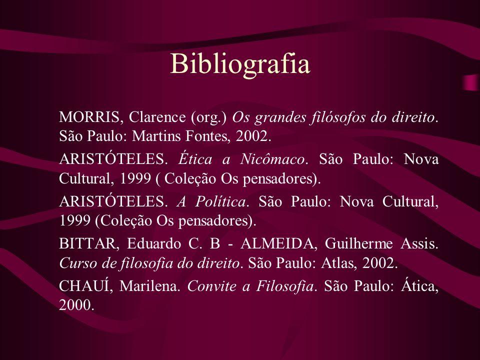 Bibliografia MORRIS, Clarence (org.) Os grandes filósofos do direito. São Paulo: Martins Fontes, 2002.