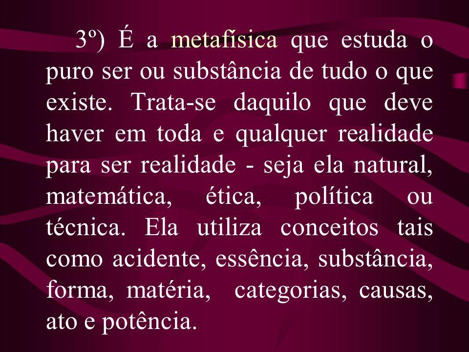 3º) É a metafísica que estuda o puro ser ou substância de tudo o que existe.
