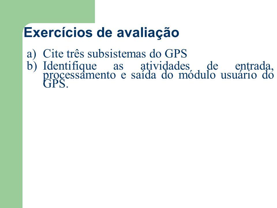 Exercícios de avaliação