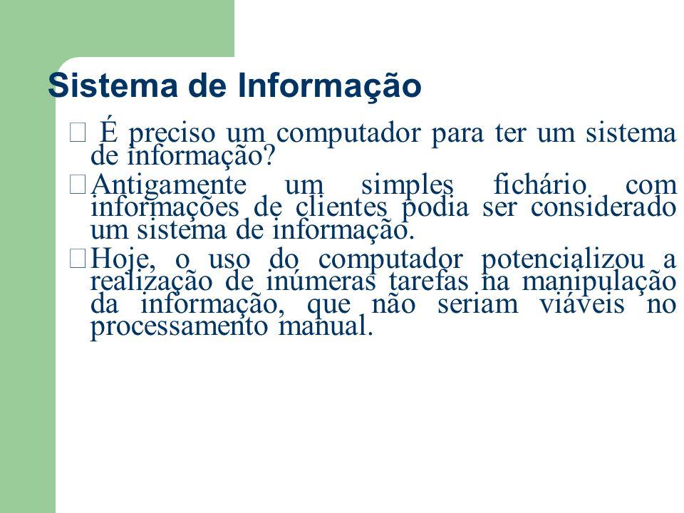 Sistema de Informação É preciso um computador para ter um sistema de informação