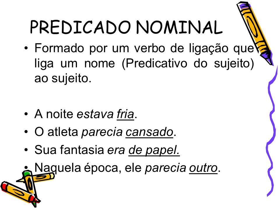 PREDICADO NOMINAL Formado por um verbo de ligação que liga um nome (Predicativo do sujeito) ao sujeito.