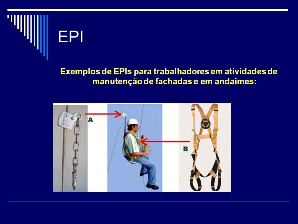 EPI Exemplos de EPIs para trabalhadores em atividades de manutenção de fachadas e em andaimes: