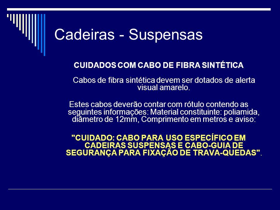 Cadeiras - Suspensas CUIDADOS COM CABO DE FIBRA SINTÉTICA Cabos de fibra sintética devem ser dotados de alerta visual amarelo.