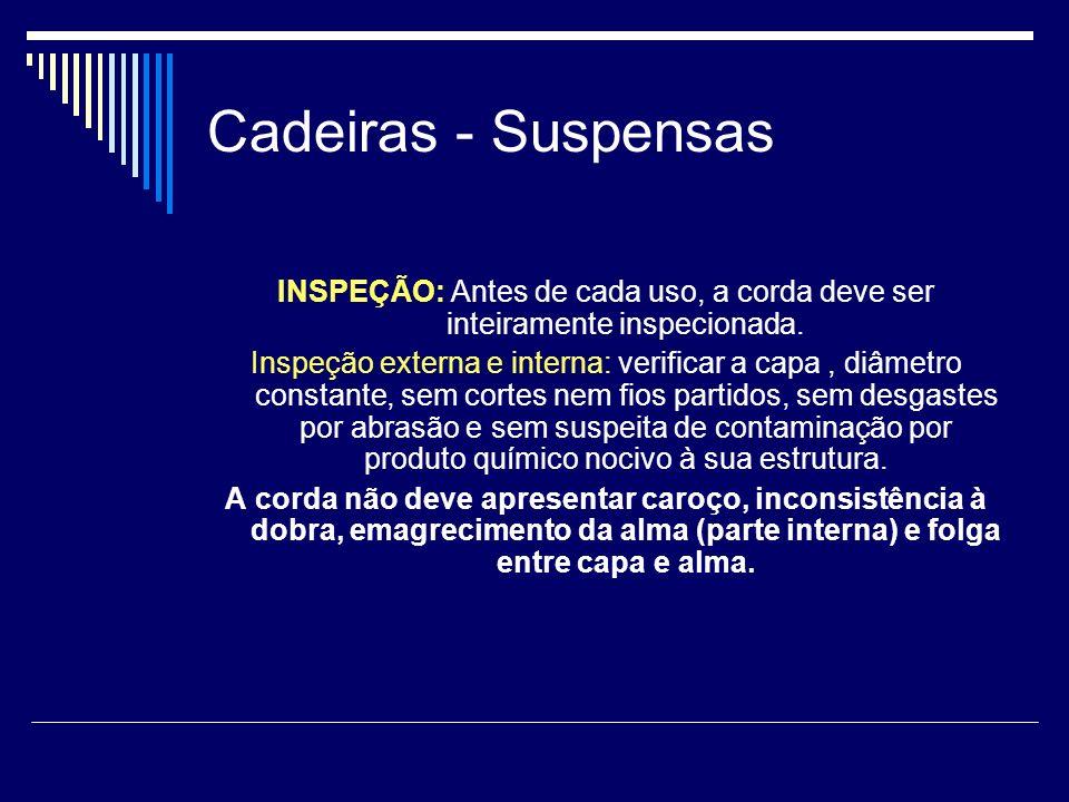 Cadeiras - Suspensas INSPEÇÃO: Antes de cada uso, a corda deve ser inteiramente inspecionada.