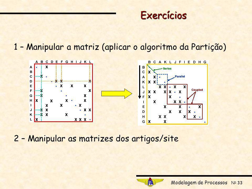 Exercícios 1 – Manipular a matriz (aplicar o algoritmo da Partição)
