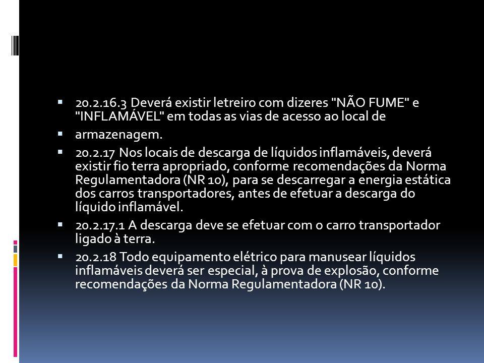 20.2.16.3 Deverá existir letreiro com dizeres NÃO FUME e INFLAMÁVEL em todas as vias de acesso ao local de