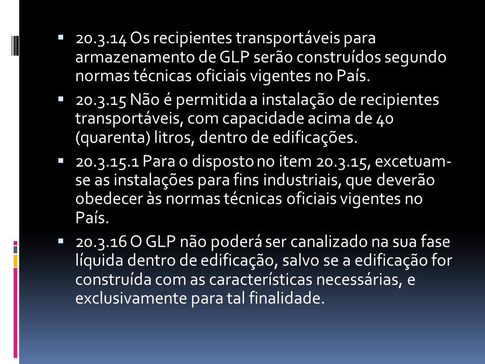 20.3.14 Os recipientes transportáveis para armazenamento de GLP serão construídos segundo normas técnicas oficiais vigentes no País.
