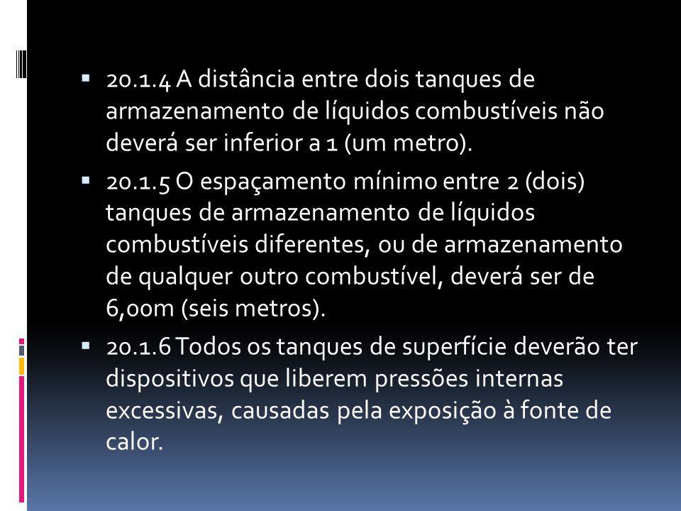 20.1.4 A distância entre dois tanques de armazenamento de líquidos combustíveis não deverá ser inferior a 1 (um metro).
