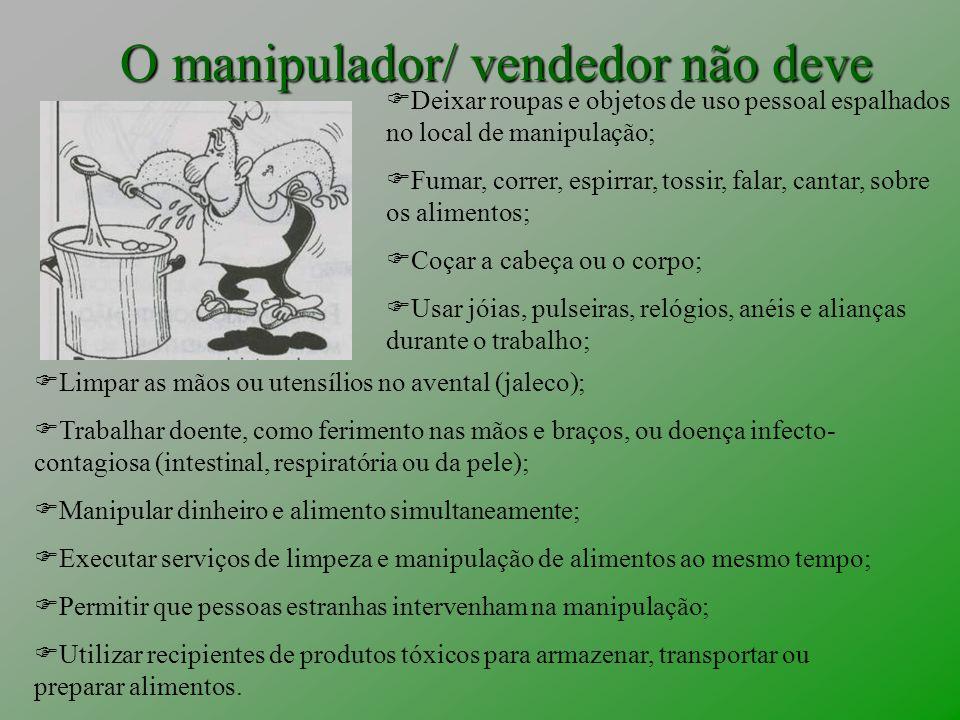 O manipulador/ vendedor não deve