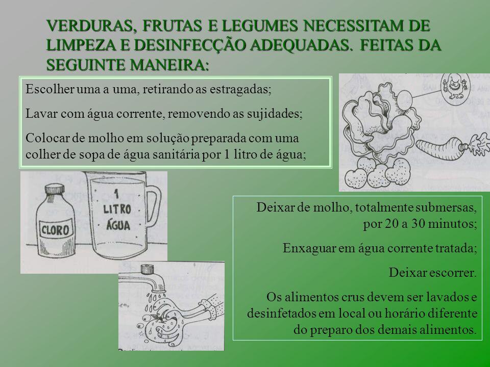 VERDURAS, FRUTAS E LEGUMES NECESSITAM DE LIMPEZA E DESINFECÇÃO ADEQUADAS. FEITAS DA SEGUINTE MANEIRA: