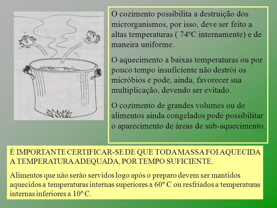 O cozimento possibilita a destruição dos microrganismos, por isso, deve ser feito a altas temperaturas ( 74ºC internamente) e de maneira uniforme.