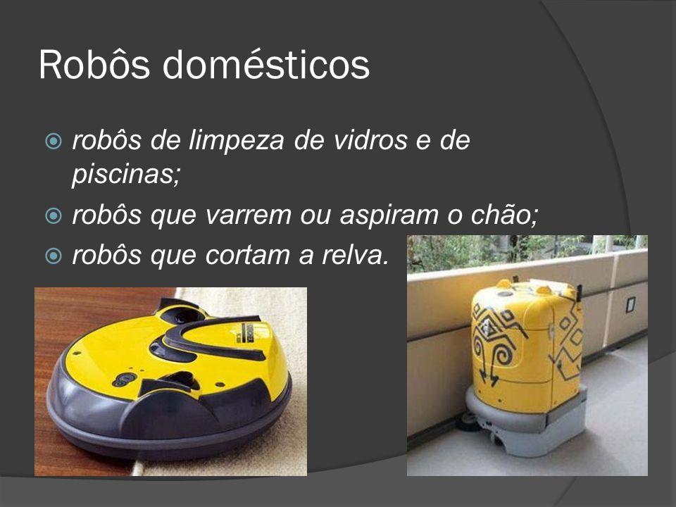 Robôs domésticos robôs de limpeza de vidros e de piscinas;