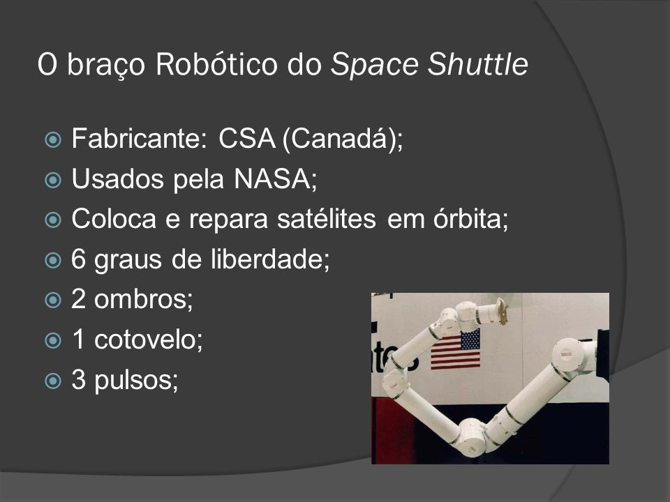 O braço Robótico do Space Shuttle