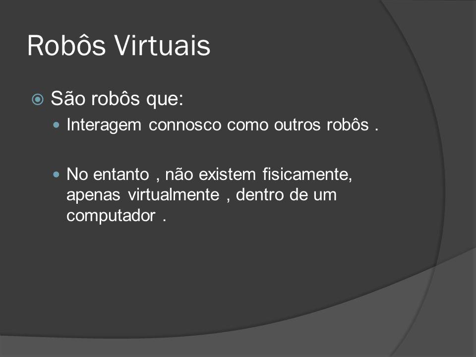 Robôs Virtuais São robôs que: Interagem connosco como outros robôs .