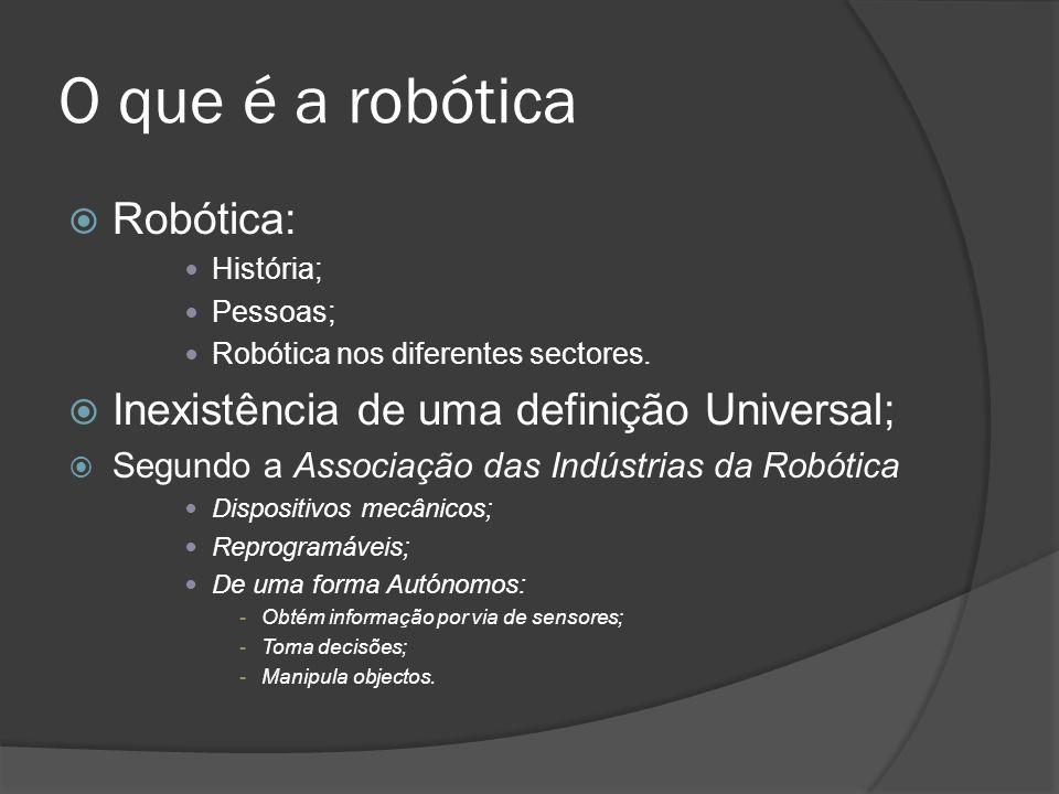 O que é a robótica Robótica: Inexistência de uma definição Universal;