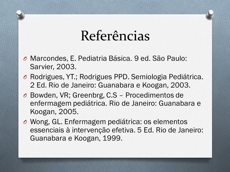 Referências Marcondes, E. Pediatria Básica. 9 ed. São Paulo: Sarvier, 2003.