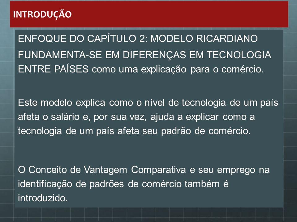 INTRODUÇÃO ENFOQUE DO CAPÍTULO 2: MODELO RICARDIANO. FUNDAMENTA-SE EM DIFERENÇAS EM TECNOLOGIA ENTRE PAÍSES como uma explicação para o comércio.