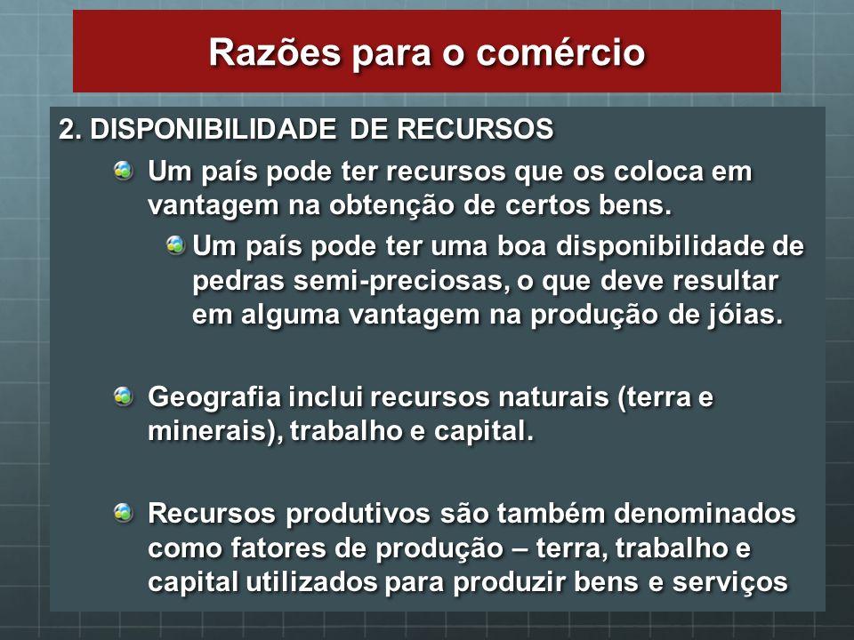 Razões para o comércio 2. DISPONIBILIDADE DE RECURSOS