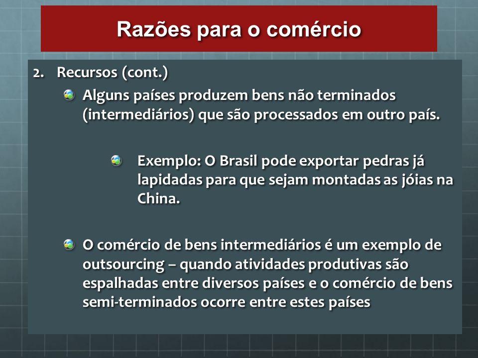 Razões para o comércio Recursos (cont.)