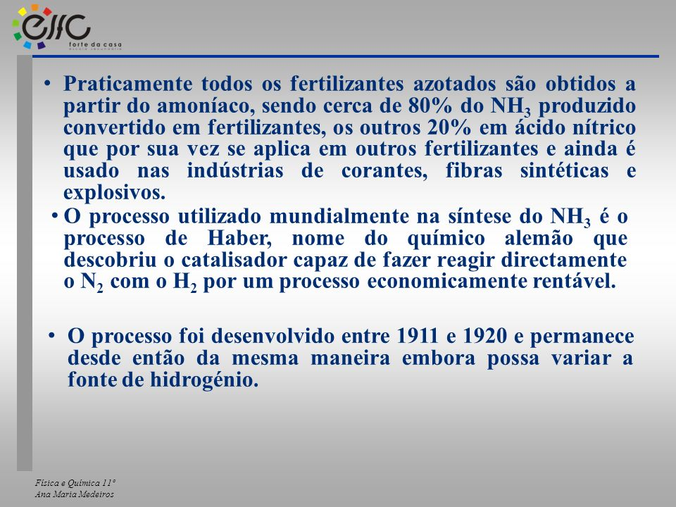 Praticamente todos os fertilizantes azotados são obtidos a partir do amoníaco, sendo cerca de 80% do NH3 produzido convertido em fertilizantes, os outros 20% em ácido nítrico que por sua vez se aplica em outros fertilizantes e ainda é usado nas indústrias de corantes, fibras sintéticas e explosivos.