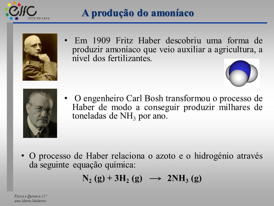 A produção do amoníaco Em 1909 Fritz Haber descobriu uma forma de produzir amoníaco que veio auxiliar a agricultura, a nível dos fertilizantes.