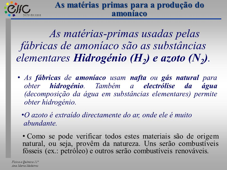 As matérias primas para a produção do amoníaco