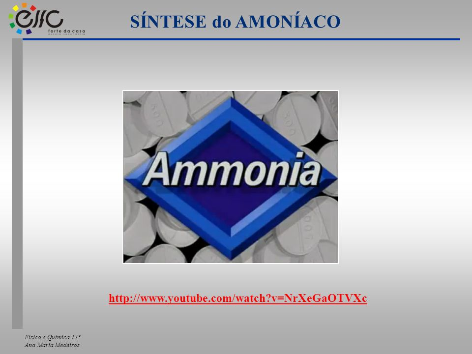 SÍNTESE do AMONÍACO http://www.youtube.com/watch v=NrXeGaOTVXc