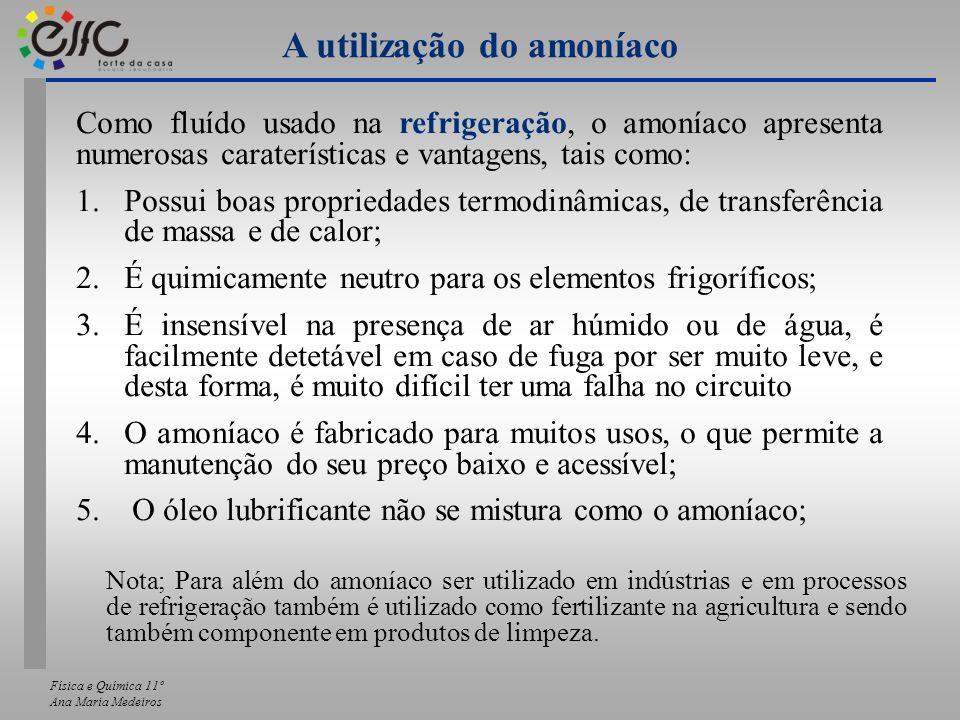 A utilização do amoníaco