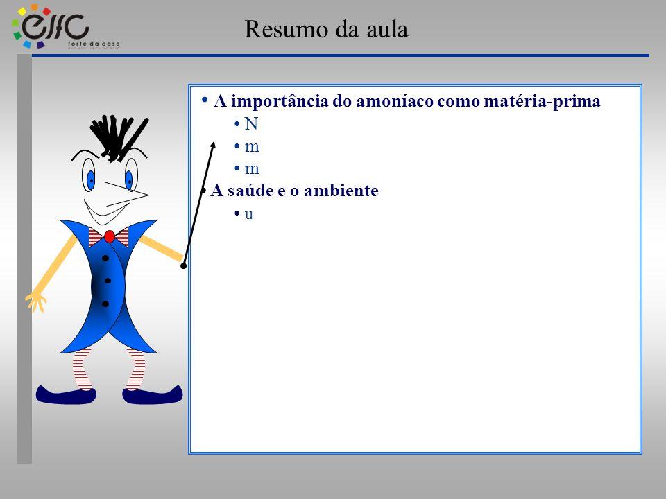 Resumo da aula A importância do amoníaco como matéria-prima N m