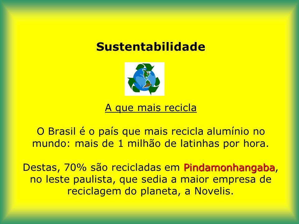 Sustentabilidade A que mais recicla O Brasil é o país que mais recicla alumínio no mundo: mais de 1 milhão de latinhas por hora.
