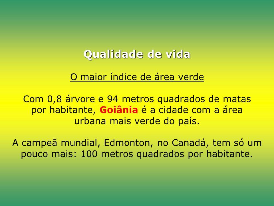 Qualidade de vida O maior índice de área verde Com 0,8 árvore e 94 metros quadrados de matas por habitante, Goiânia é a cidade com a área urbana mais verde do país.
