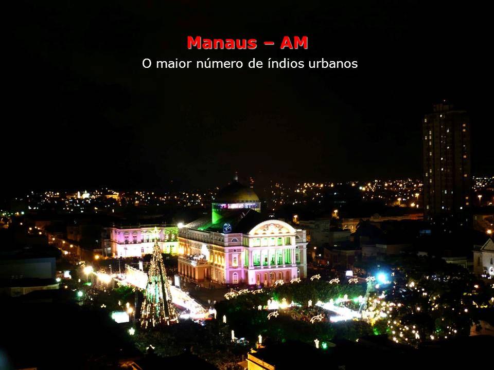 Manaus – AM O maior número de índios urbanos