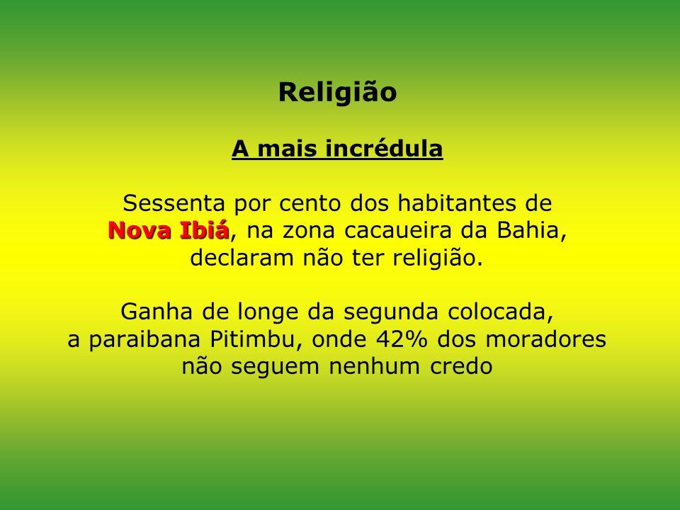 Religião A mais incrédula Sessenta por cento dos habitantes de Nova Ibiá, na zona cacaueira da Bahia, declaram não ter religião.
