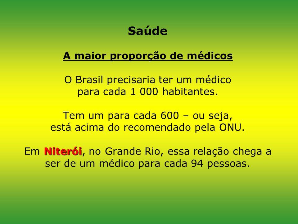 Saúde A maior proporção de médicos O Brasil precisaria ter um médico para cada 1 000 habitantes.