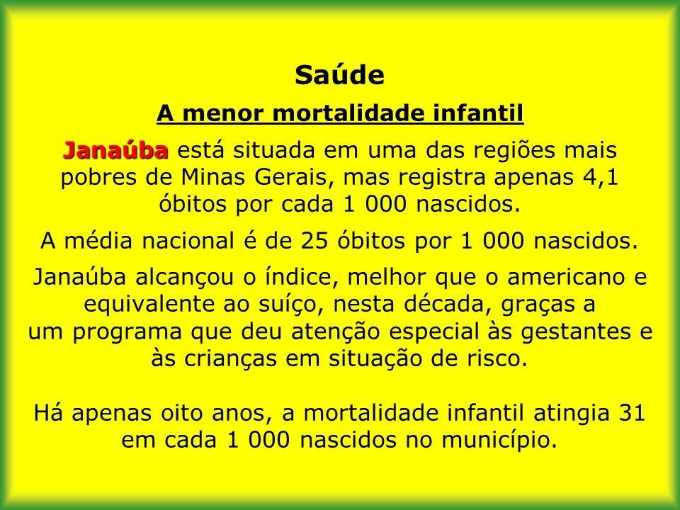 Saúde A menor mortalidade infantil Janaúba está situada em uma das regiões mais pobres de Minas Gerais, mas registra apenas 4,1 óbitos por cada 1 000 nascidos.