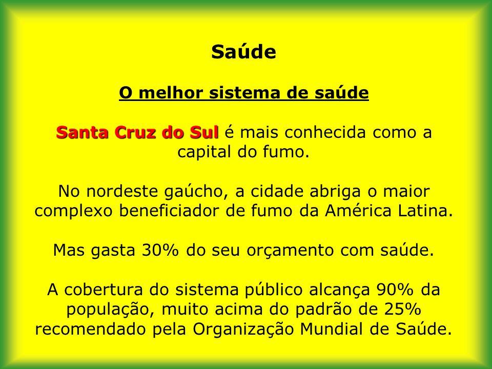 Saúde O melhor sistema de saúde Santa Cruz do Sul é mais conhecida como a capital do fumo.