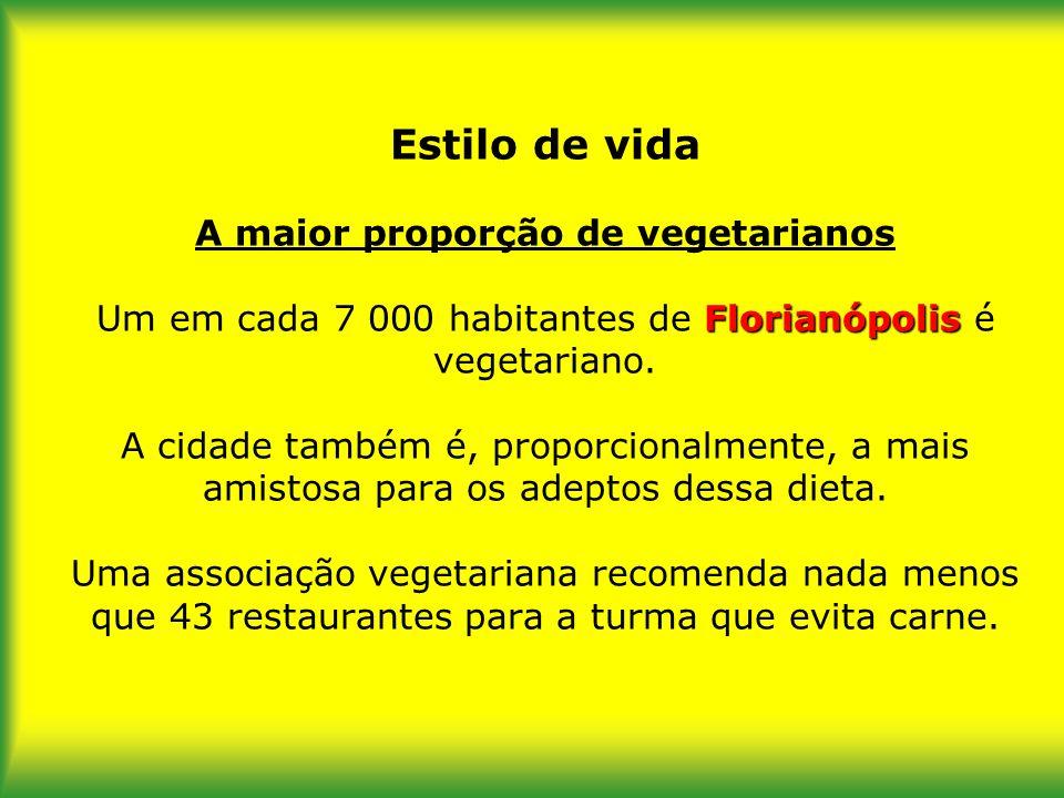 Estilo de vida A maior proporção de vegetarianos Um em cada 7 000 habitantes de Florianópolis é vegetariano.