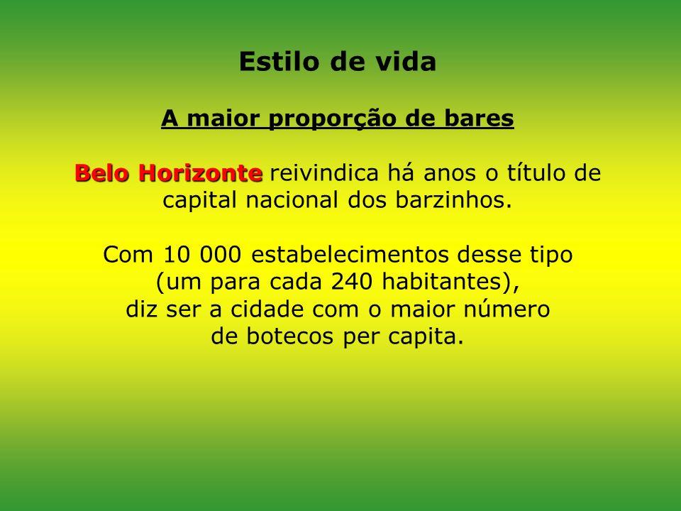 Estilo de vida A maior proporção de bares Belo Horizonte reivindica há anos o título de capital nacional dos barzinhos.
