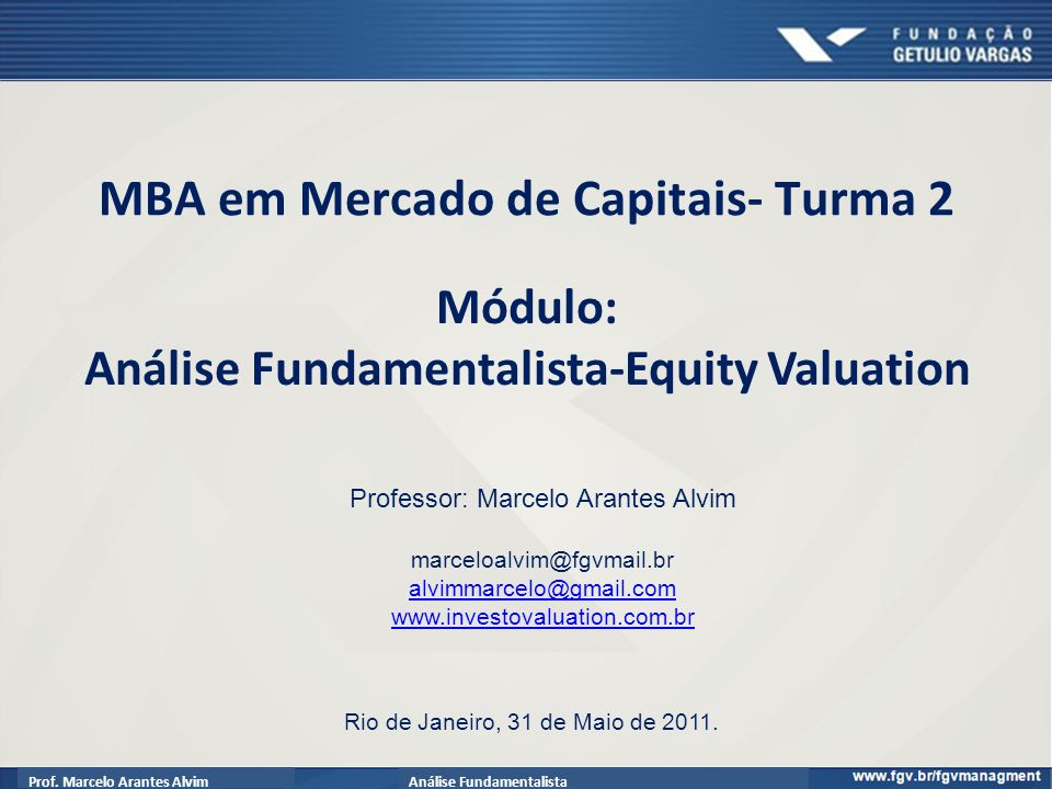 Módulo: Análise Fundamentalista-Equity Valuation