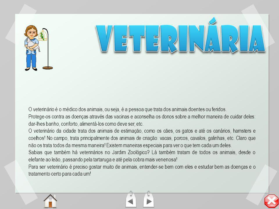 veterinária O veterinário é o médico dos animais, ou seja, é a pessoa que trata dos animais doentes ou feridos.