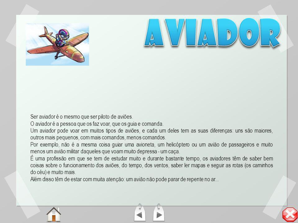 aviador Ser aviador é o mesmo que ser piloto de aviões.