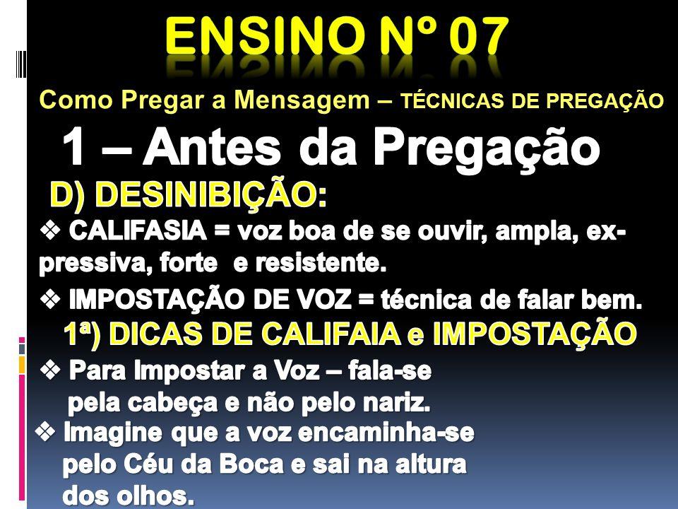 1ª) DICAS DE CALIFAIA e IMPOSTAÇÃO