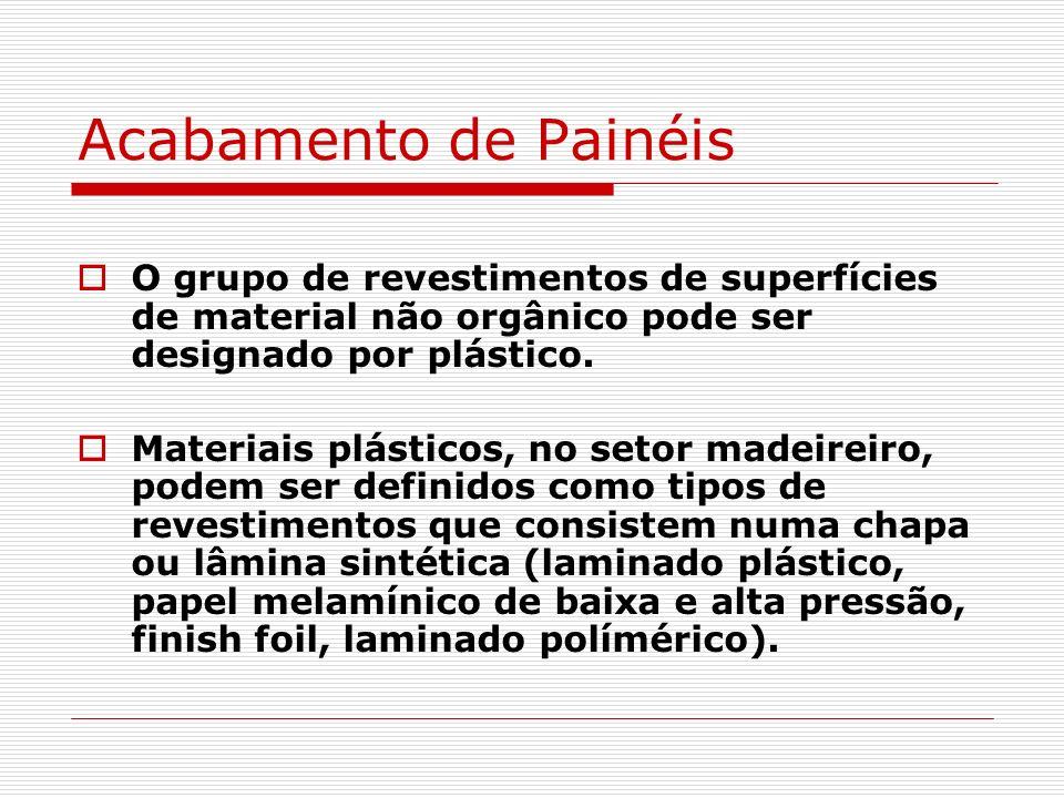 Acabamento de Painéis O grupo de revestimentos de superfícies de material não orgânico pode ser designado por plástico.