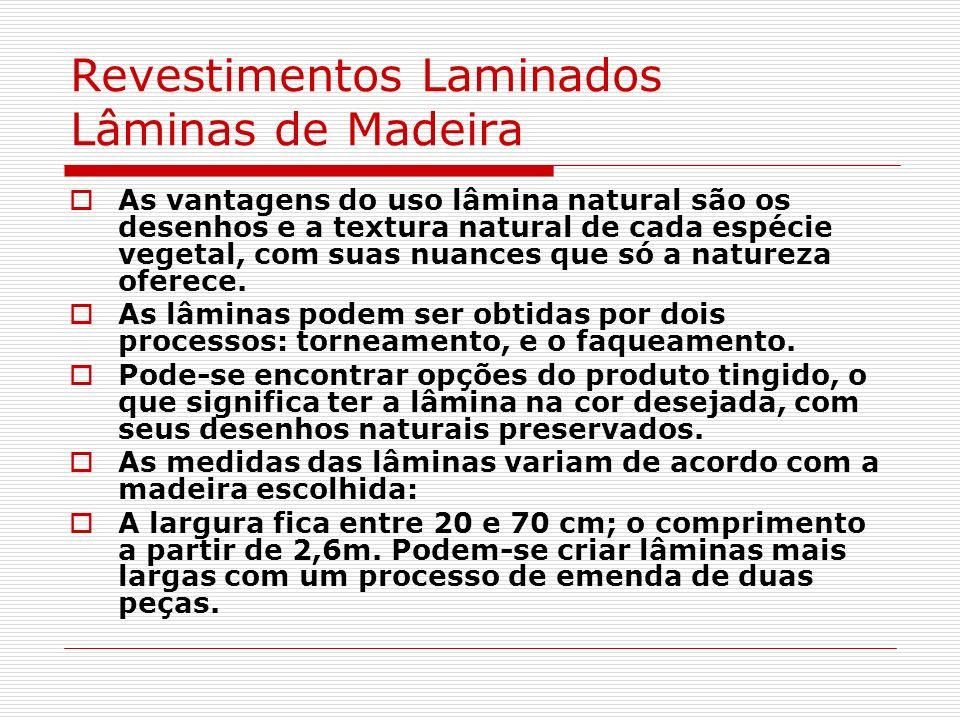 Revestimentos Laminados Lâminas de Madeira