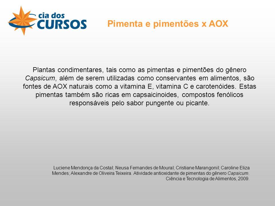 Pimenta e pimentões x AOX